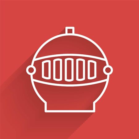 White line Medieval iron helmet for head protection icon isolated with long shadow. Vector Illustration Illustration
