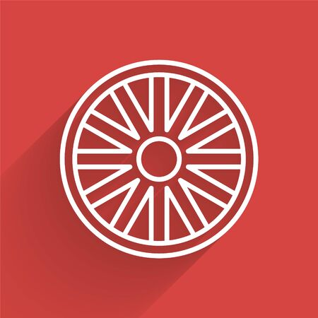 White line Old wooden wheel icon isolated with long shadow. Vector Illustration