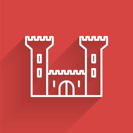 White line Castle icon isolated with long shadow. Fortress sign. Vector Illustration