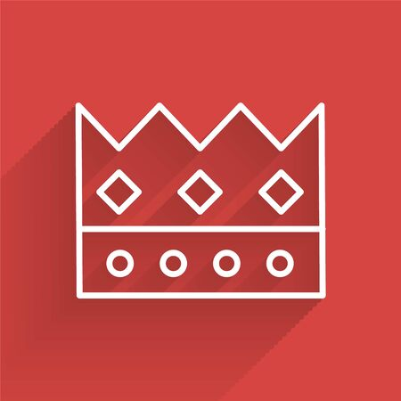 White line King crown icon isolated with long shadow. Vector Illustration