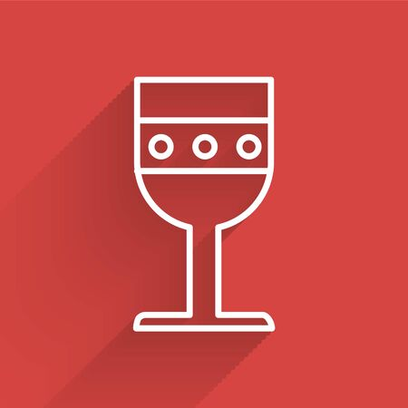 White line Medieval goblet icon isolated with long shadow. Vector Illustration