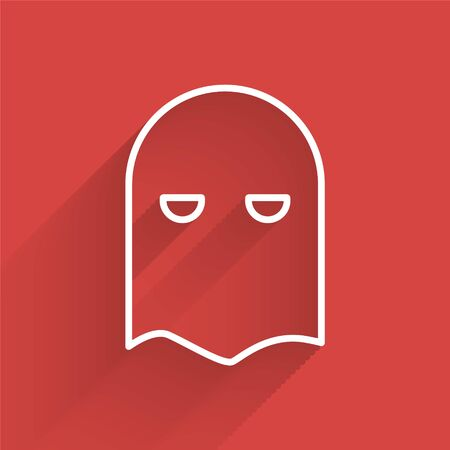 White line Executioner mask icon isolated with long shadow. Hangman, torturer, executor, tormentor, butcher, headsman icon. Vector Illustration