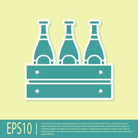 Green Pack of beer bottles icon isolated on yellow background. Wooden box and beer bottles. Case crate beer box sign.  Vector Illustration