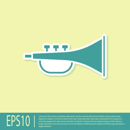Green Musical instrument trumpet icon isolated on yellow background. Vector Illustration Vectores