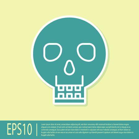 Green Skull icon isolated on yellow background. Happy Halloween party. Vector Illustration Ilustracja