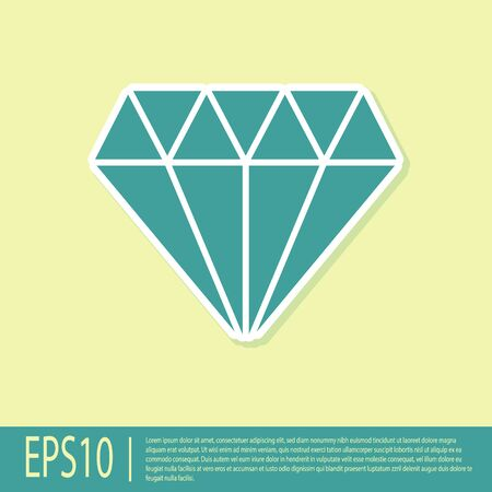 Green Diamond icon isolated on yellow background. Jewelry symbol. Gem stone.  Vector Illustration Ilustrace