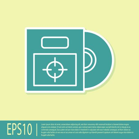 Green CD or DVD disk in box icon isolated on yellow background. Compact disc sign. Vector Illustration