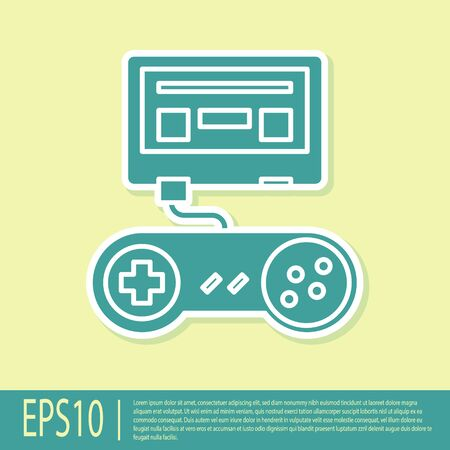 Green Video game console with joystick icon isolated on yellow background. Vector Illustration