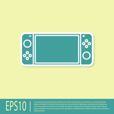 Green Portable video game console icon isolated on yellow background. Gamepad sign. Gaming concept. Vector Illustration