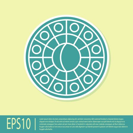 Green Astrology horoscope circle with zodiac icon isolated on yellow background. Vector Illustration