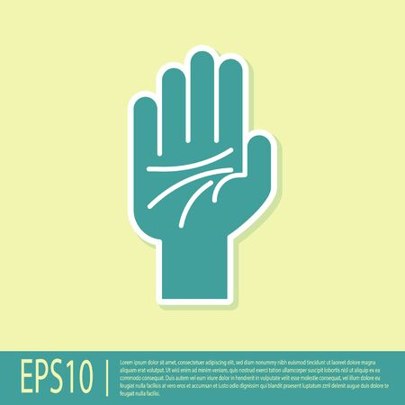 Green Palmistry of the hand icon isolated on yellow background. Vector Illustration 일러스트