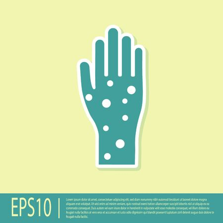 Green Hand with psoriasis or eczema icon isolated on yellow background. Concept of human skin response to allergen or chronic body problem. Vector Illustration Illustration
