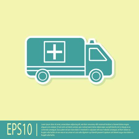 Green Ambulance and emergency car icon isolated on yellow background. Ambulance vehicle medical evacuation. Vector Illustration
