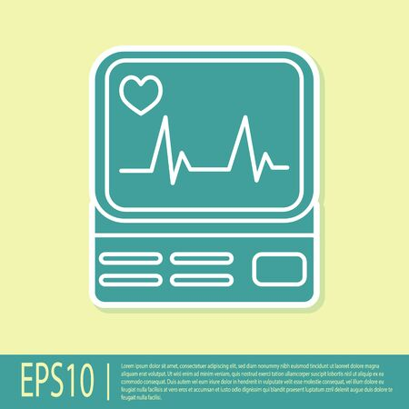 Green Computer monitor with cardiogram icon isolated on yellow background. Monitoring icon. ECG monitor with heart beat hand drawn. Vector Illustration