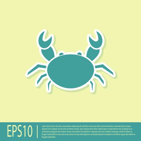 Green Crab icon isolated on yellow background. Vector Illustration 矢量图像