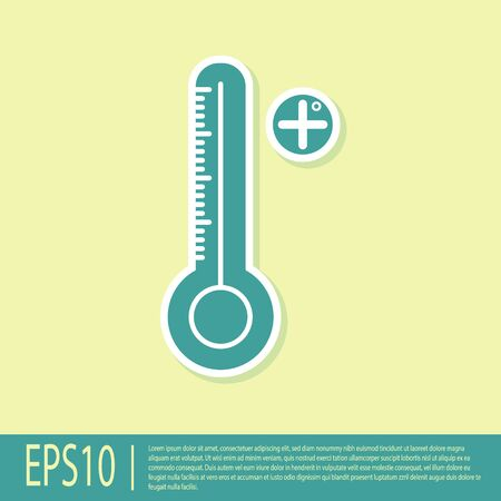 Green Medical digital thermometer for medical examination icon isolated on yellow background. Vector Illustration