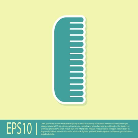 Green Hairbrush icon isolated on yellow background. Comb hair sign. Barber symbol. Vector Illustration
