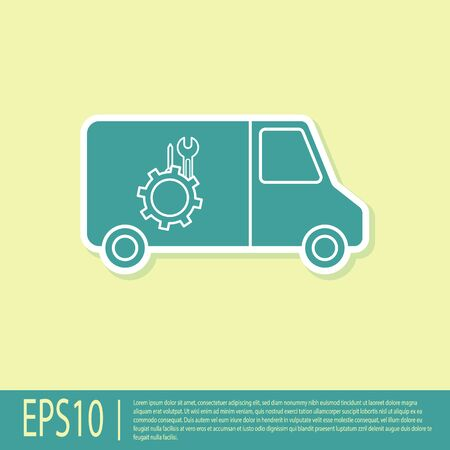 Green Car service icon isolated on yellow background. Repair service auto mechanic. Maintenance sign. Vector Illustration Standard-Bild - 138335763