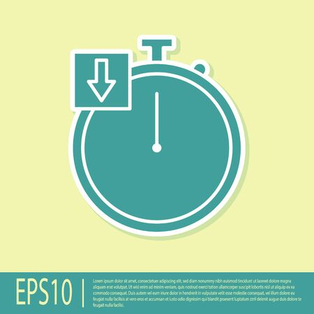 Green Stopwatch icon isolated on yellow background. Time timer sign. Chronometer. Vector Illustration