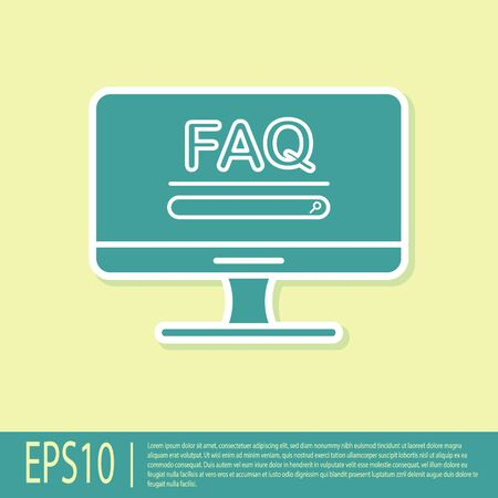 Green Computer monitor with text FAQ information icon isolated on yellow background. Frequently asked questions. Vector Illustration