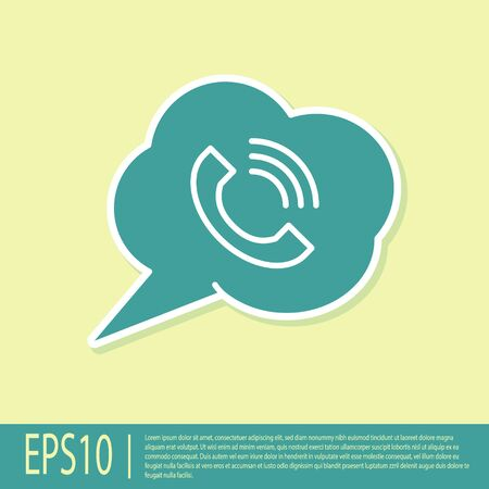 Green Speech bubble with phone call icon isolated on yellow background. Vector Illustration