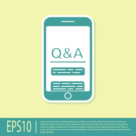 Green Mobile phone with Question and Exclamation icon isolated on yellow background. Frequently asked questions. Vector Illustration