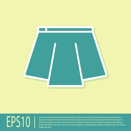 Green Skirt icon isolated on yellow background. Vector Illustration