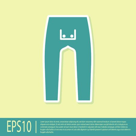 Green Pants icon isolated on yellow background. Vector Illustration Archivio Fotografico - 138297944