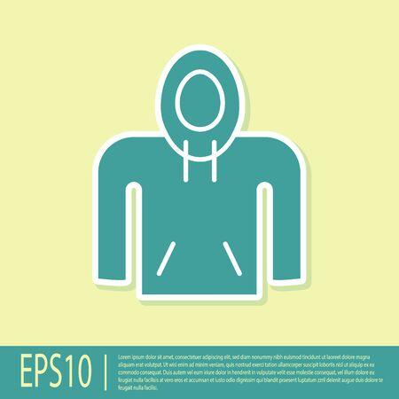 Green Hoodie icon isolated on yellow background. Hooded sweatshirt. Vector Illustration
