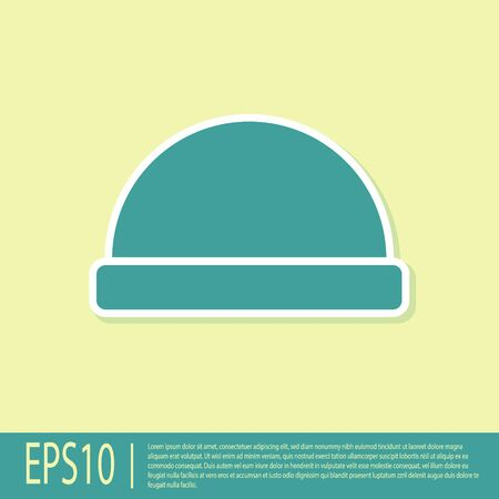 Green Beanie hat icon isolated on yellow background. Vector Illustration