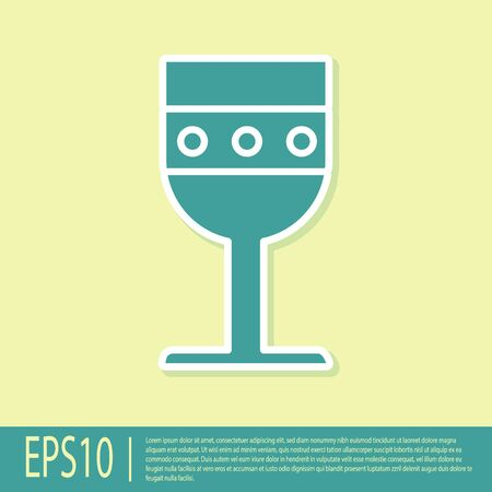 Green Medieval goblet icon isolated on yellow background. Vector Illustration