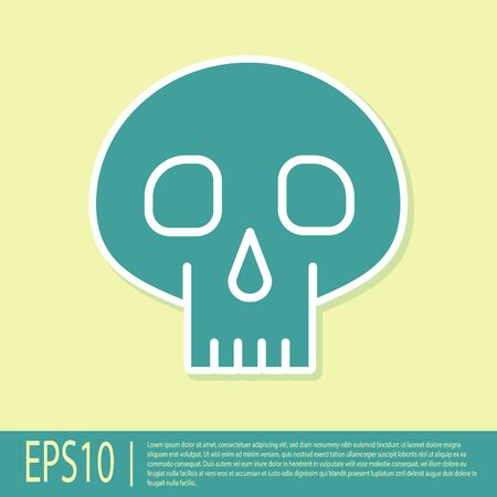Green Skull icon isolated on yellow background. Vector Illustration