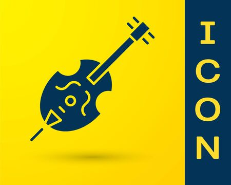 Blue Violin icon isolated on yellow background. Musical instrument. Vector Illustration Ilustrace