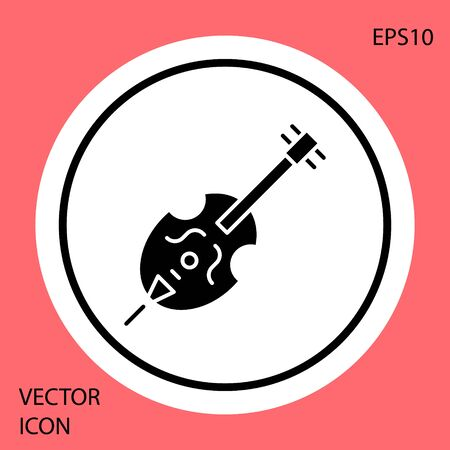 Black Violin icon isolated on red background. Musical instrument. White circle button. Vector Illustration 向量圖像