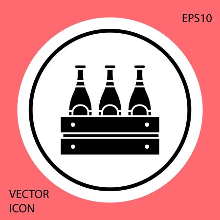 Black Pack of beer bottles icon isolated on red background. Wooden box and beer bottles. Case crate beer box sign. White circle button. Vector Illustration