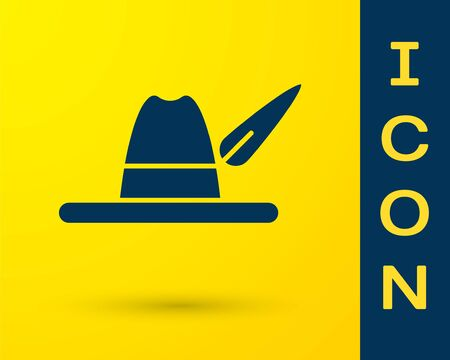 Blue Oktoberfest hat icon isolated on yellow background. Hunter hat with feather. German hat.  Vector Illustration