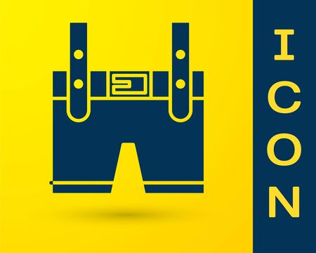 Blue Lederhosen icon isolated on yellow background. Traditional bavarian clothing. Oktoberfest outfit. Pants with suspenders. Patrick day.  Vector Illustration Illustration