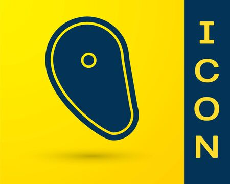 Blue Steak meat icon isolated on yellow background.  Vector Illustration