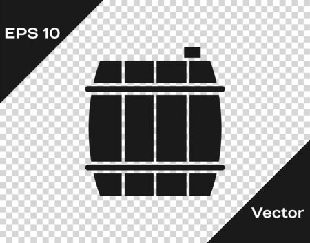 Grey Wooden barrel icon isolated on transparent background. Alcohol barrel, drink container, wooden keg for beer, whiskey, wine.  Vector Illustration Illustration
