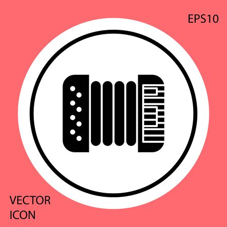 Black Musical instrument accordion icon isolated on red background. Classical bayan, harmonic. White circle button. Vector Illustration