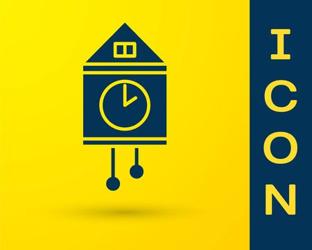 Blue Retro wall watch icon isolated on yellow background. Cuckoo clock sign. Antique pendulum clock. Vector Illustration