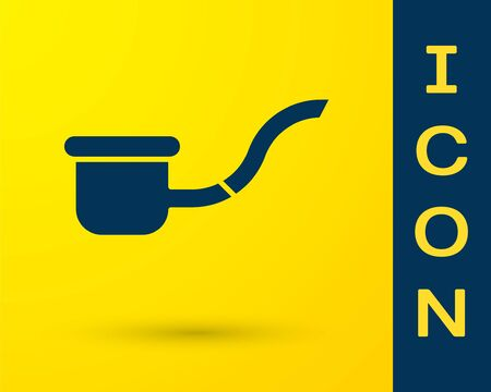 Blue Smoking pipe with smoke icon isolated on yellow background. Tobacco pipe. Vector Illustration Ilustracja