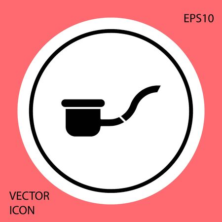 Black Smoking pipe with smoke icon isolated on red background. Tobacco pipe. White circle button. Vector Illustration