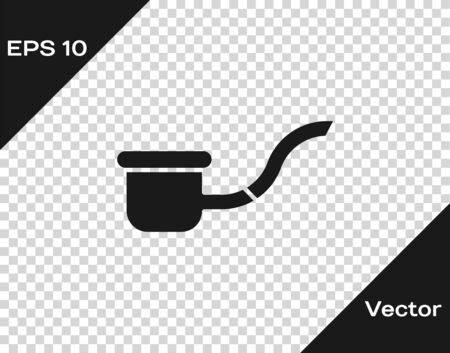 Grey Smoking pipe with smoke icon isolated on transparent background. Tobacco pipe. Vector Illustration