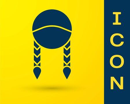 Blue Braid icon isolated on yellow background. Vector Illustration Ilustração