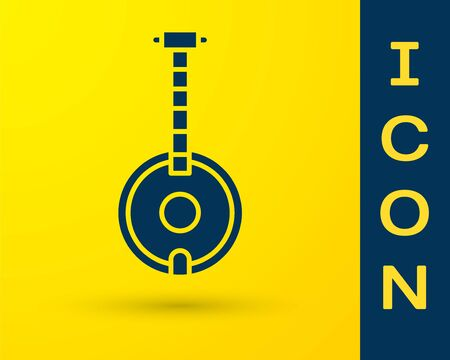 Blue Banjo icon isolated on yellow background. Musical instrument. Vector Illustration