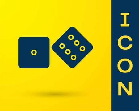 Blue Game dice icon isolated on yellow background. Casino gambling. Vector Illustration Vector Illustration