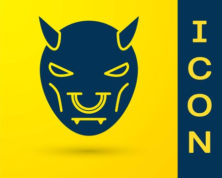 Blue Mask of the devil with horns icon isolated on yellow background. Vector Illustration Ilustracja