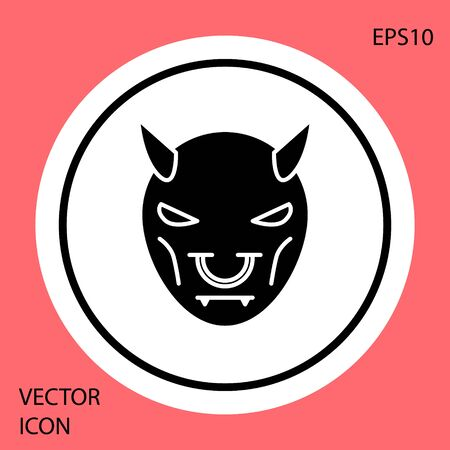 Black Mask of the devil with horns icon isolated on red background. White circle button. Vector Illustration