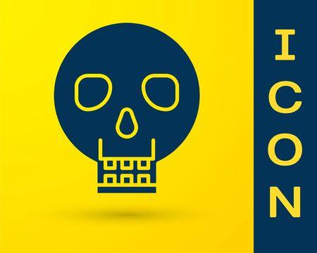Blue Skull icon isolated on yellow background. Happy Halloween party. Vector Illustration Ilustracja
